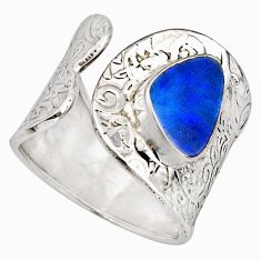 925 silver 4.12cts natural doublet opal australian adjustable ring size 9 r13128
