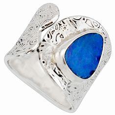 Natural blue doublet opal australian 925 silver adjustable ring size 8.5 r13129