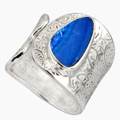 Natural blue doublet opal australian 925 silver adjustable ring size 8.5 r13132