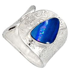 3.98cts natural doublet opal australian 925 silver adjustable ring size 9 r13133