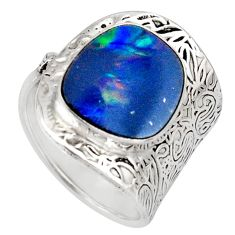 Natural blue doublet opal australian 925 silver adjustable ring size 7.5 r13136