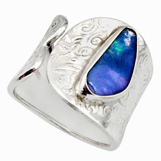 925 silver natural blue doublet opal australian adjustable ring size 8.5 r13138