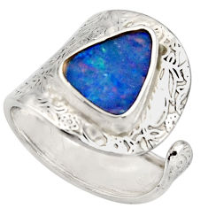 3.65cts natural doublet opal australian 925 silver adjustable ring size 8 r13145