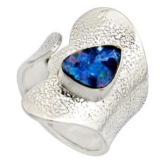 Natural blue doublet opal australian 925 silver adjustable ring size 7.5 r13146