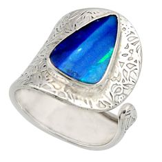 4.03cts natural doublet opal australian 925 silver adjustable ring size 8 r13148