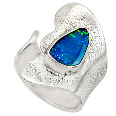 925 silver natural blue doublet opal australian adjustable ring size 6.5 r13149