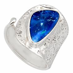 4.22cts natural doublet opal australian 925 silver adjustable ring size 8 r13153