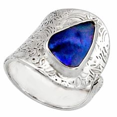 925 silver natural blue doublet opal australian adjustable ring size 7.5 r13155