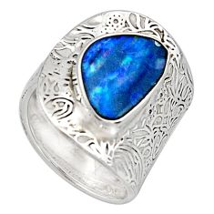 925 silver natural blue doublet opal australian adjustable ring size 6.5 r13160