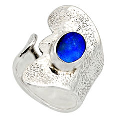 Natural blue doublet opal australian 925 silver adjustable ring size 7.5 r13161