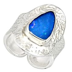 925 silver natural blue doublet opal australian adjustable ring size 7.5 r13164