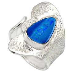 Natural blue doublet opal australian 925 silver adjustable ring size 7.5 r13165