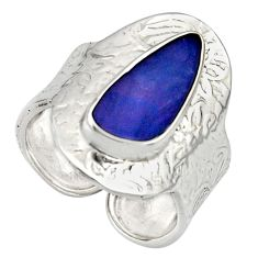 Natural blue doublet opal australian 925 silver adjustable ring size 8.5 r13167
