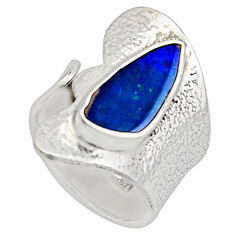 Natural blue doublet opal australian 925 silver adjustable ring size 7.5 r13169