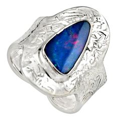 3.41cts natural doublet opal australian 925 silver adjustable ring size 8 r13171