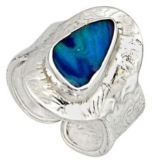 925 silver 3.58cts natural doublet opal australian adjustable ring size 9 r13172
