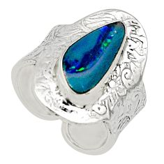Natural blue doublet opal australian 925 silver adjustable ring size 8.5 r13173
