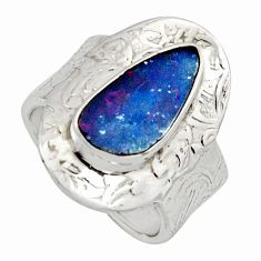 Natural blue doublet opal australian 925 silver adjustable ring size 7.5 r13178