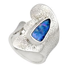 2.62cts natural doublet opal australian 925 silver adjustable ring size 5 r13179