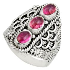 3.41cts natural multi color tourmaline 925 sterling silver ring size 7.5 r13181