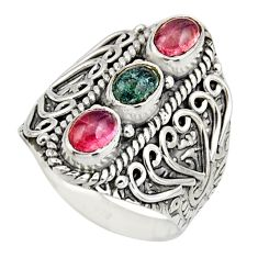 3.32cts natural multi color tourmaline 925 sterling silver ring size 8 r13183