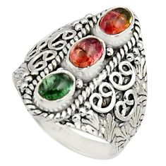 925 sterling silver 3.52cts natural multi color tourmaline ring size 8.5 r13184