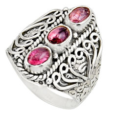 3.31cts natural multi color tourmaline 925 sterling silver ring size 8.5 r13185