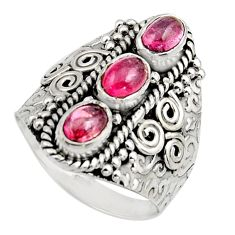3.35cts natural multi color tourmaline 925 sterling silver ring size 8 r13186