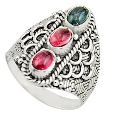 925 silver 3.52cts natural multi color tourmaline oval ring size 9 r13187