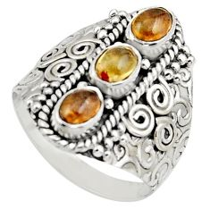 3.53cts natural multi color tourmaline 925 sterling silver ring size 9 r13188