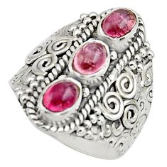 3.50cts natural multi color tourmaline 925 sterling silver ring size 7.5 r13189