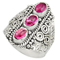 3.24cts natural multi color tourmaline 925 sterling silver ring size 8 r13190