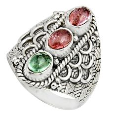 3.29cts natural multi color tourmaline 925 sterling silver ring size 7.5 r13193