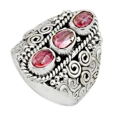 3.21cts natural multi color tourmaline 925 sterling silver ring size 8 r13194