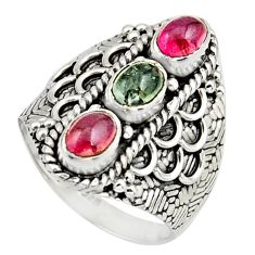 925 sterling silver 3.39cts natural multi color tourmaline ring size 8 r13195