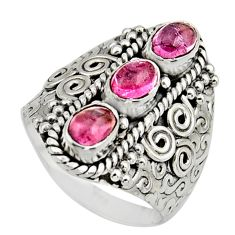 3.62cts natural multi color tourmaline 925 sterling silver ring size 7.5 r13197