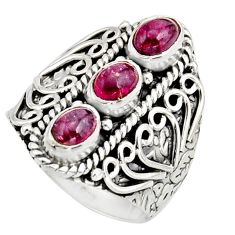 3.24cts natural multi color tourmaline 925 sterling silver ring size 7.5 r13198