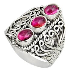 3.26cts natural multi color tourmaline 925 sterling silver ring size 8.5 r13200