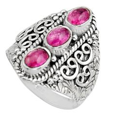3.24cts natural multi color tourmaline 925 sterling silver ring size 8 r13201