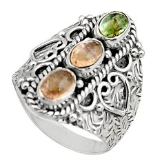 3.26cts natural multi color tourmaline 925 sterling silver ring size 7.5 r13202