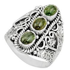 3.26cts natural multi color tourmaline 925 sterling silver ring size 8 r13203