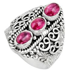 925 sterling silver 3.20cts natural multi color tourmaline ring size 7.5 r13204