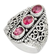 3.53cts natural multi color tourmaline 925 sterling silver ring size 8 r13205