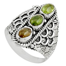 3.29cts natural multi color tourmaline 925 sterling silver ring size 7.5 r13206