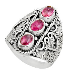 3.43cts natural multi color tourmaline 925 sterling silver ring size 7.5 r13207