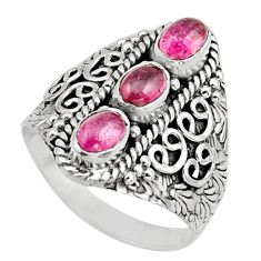 3.31cts natural multi color tourmaline 925 sterling silver ring size 8.5 r13209
