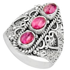3.13cts natural multi color tourmaline 925 sterling silver ring size 9 r13210