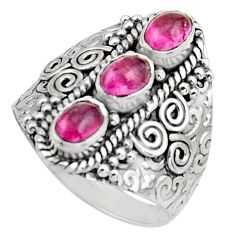 3.24cts natural multi color tourmaline 925 sterling silver ring size 9 r13211
