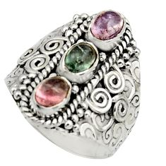 925 sterling silver 3.24cts natural multi color tourmaline ring size 8.5 r13212