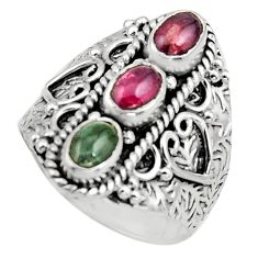 3.32cts natural multi color tourmaline 925 sterling silver ring size 8 r13213